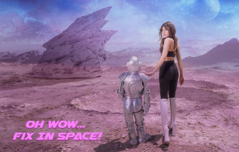 באנר פרסומי OH WOW FIX IN SPACE תמונה של אלה-לי בסט טיץ+גוזיה שחור